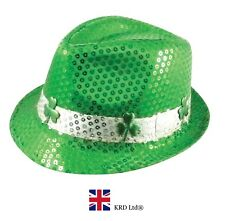 GANGSTER SEQUIN IRISH CLOVER HAT St Patricks Day Novelty Flag Plush Fancy Dress