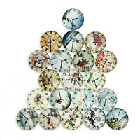 20PCS Vintage Clock Glass Cabochons Flat Back Jewelry Fit Setting Dome Cameo DIY
