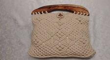 VTG BOHO FESTIVAL MACRAME CROCHET hippie wood handle purse handbag bag