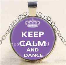 Keep Calm And Dance Cabochon Glass Tibet Silver Chain Pendant Necklace