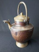 Antike Originale Vor 1945 Kupfer Antiker Kupferkessel Wasserkessel Verzinnt Eisen Dreibein Zum Warmhalten Um 1860