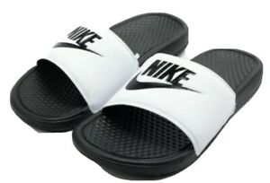 NIKE BENASSI JDI MEN'S SLIDE WHITE / BLACK 343880 100  Size 9