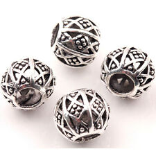 10Pcs Tibetan Silver Charms Spacer Big Hole Beads Jewelry Findings Making 10mm B