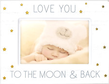 Baby Picture Frame Photo Keepsake Memories Love You To Moon Back 4 x 6 Wood Gold