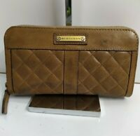 Burberry Brown Tan Quilted Leather Zip Around Organizer Long - Checkbook Wallet