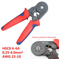 HSC8 6-6A Crimping Pliers Self Adjusting Ratcheting Wire End Ferrules AWG 23-10