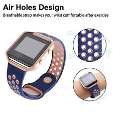 For Fitbit Blaze Replacement Wristband Wrist Watch Bands With Metal Frame Navy L