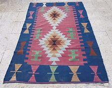 Turkish Kayseri Handmade Wool Flatweave Kilim Rug, Wall Hanging 3'9'' X 5'8''