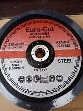 Grinding Discs 230mm X 6mm Metal Euro Cut A24RBF Dated 09/2022 Pack Of 30