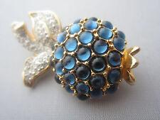 Vintage SWARVOSKI CRYSTAL BLUE BERRY 18K GOLD PLATED BROOCH Pin Signed Swan