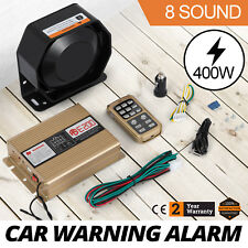 400W 8 Sound Car Warning Alarm Police Fire Siren Horn MIC System Kit Speaker