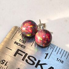 TRUE RED BALLS of FIRE OPAL Post Sterling Earrings Perfect! Sterling Silver 925
