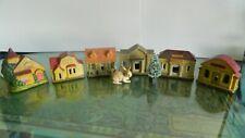 Amazing Made in Japan 6 pc.+ bonus Ceramic Christmas Village, 1940's Rare set!