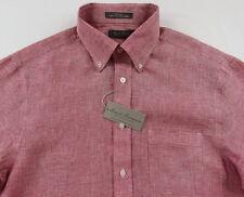Men's DANIEL CREMIEUX Red White Houndstooth Linen Shirt M Medium NWT NEW