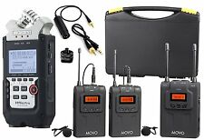 Zoom H4n PRO 4-Channel Recorder Bundle w/ Movo UHF Wireless Dual Lav Mic System