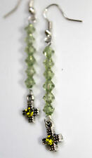 antiqued silver cross and olive green bead dangle EARRINGS