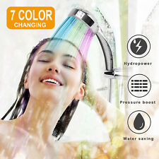 Bathroom Colorful LED Shower Head Handheld 7 Color Changing Water Glow Light US