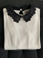 ASOS Women's White Knit Jumper Size 10 with black lace trim collar - 100% cotton