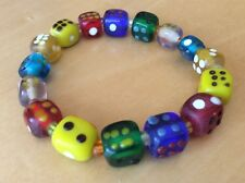 Vintage Art Glass Stretch BRACELET Lucky Color DICE Charms Beads 1970s Gambling