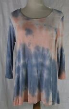 """Woman's Ambiance Apparel Blouse 3/4"""" Sleeve Small Blue/Pink Baggie"""
