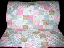 """Handmade Girl's Crib Quilt, Forest Animals, Deer, Squirrels & Foxes, 40"""" x 46"""""""