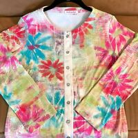 Fresh Produce 100% Cotton Cardigan Sweater Floral Multicolor Long Sleeve Size XS