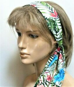 NEW COTTON GREEN FLORAL TROPICAL HEADBAND HAIR SCARF SELF TIE BOW RETRO STYLE