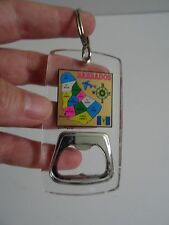 Souvenir Clear Plastic Keychain Bahamas Map with Bottle Opener