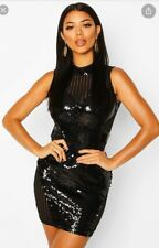 boohoo Sequin High Neck Mesh Insert Midi Dress ~ Black ~ Size 14
