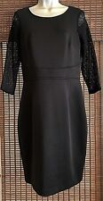Women's LONDON TIMES Black Dress With Black Lace Sleeves ~ Size 10