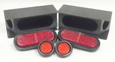 """2 steel trailer angled light boxes w/ 6"""" red oval & 2"""" Round LED lights"""