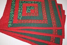 Christmas Placemats Quilted Log Cabin Holiday Table Set 4 Red Green Holly Hearts
