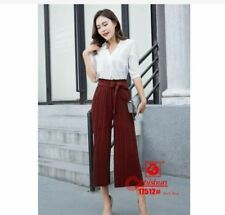 LADIES SQUARE PANTS WITH RIBBON - MAROON