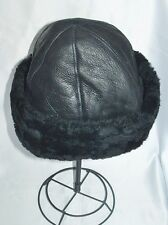 NEW mens/womens Beanie Black Sheepskin Shearling Fur Hat Real Leather Warm M-L