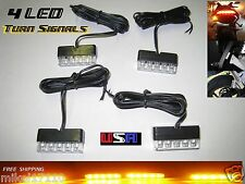 4 Black LED Motorcycle Turn Signals Indicators Blinker Flush Directionals 675R a
