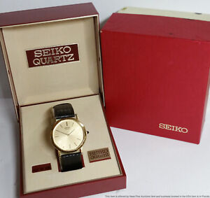 Vintage Seiko 5931-5059 Gold Tone Mens Dress Wrist Watch with Box
