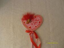 vtg large russ berrie vanentines day floral arrangement pick w/ cupid troll cute