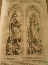 Peinture sur Verre St Ferndinand de Castille et Ste Adélaide Gravure Print 1844