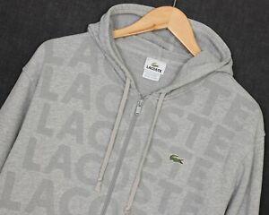 LACOSTE Full Zip Grey Logo Printed Cotton Hoodie Sweatshirt Men Size 5 / Large