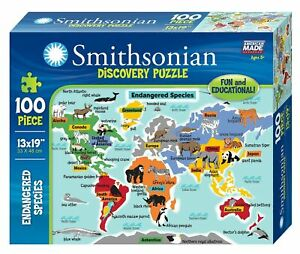 "Smithsonian 100-piece 13"" x 19"" Endangered Species Discovery Puzzle"