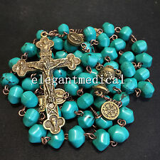 Vintage First Communion Rosary gifts Turquoise bead CRUCIFIX Cross Necklace