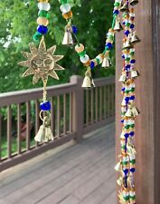 "Brass Sunburst 26"" Long Beaded Chakra Garland Door Hanging Strand With Bells"