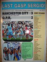 Manchester City 3 QPR 2 - 2012 - souvenir print