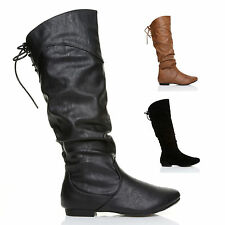 Women's Synthetic Leather Slouch Block Boots