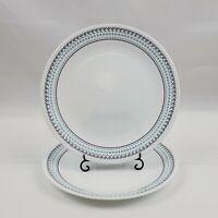 "Set of 2 Key West Corelle  10 1/4"" Dinner Plates Teal Navy Stripes Pattern"