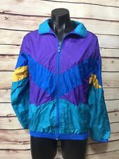 Vtg Athletic Works Women's Size S/M Light Jacket WindBreaker Multicolor Lined