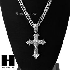 HIP HOP ICED OUT JESUS CROSS PENDANT & DIAMOND CUT CUBAN LINK CHAIN NECKLACE N41