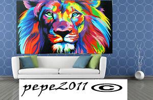 "art print Lion Rainbow Framed canvas painting modern 28"" x 20"""