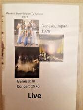 Genesis: Live in Concert- Belgium '72, '76, Japan'78      3 live dvd's!!