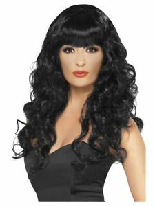 Smiffys Siren Wig - Long and Curly with Fringe - Black